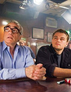 Martin Scorsese and Leonardo DiCaprio on the set of The Departed (2006).