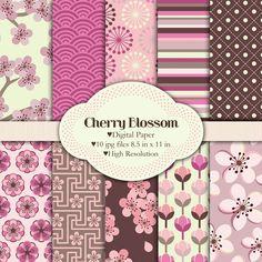 Color combination - Cherry blossom  Japanese nature   Digital by pixelpaperprints, $4.25