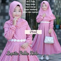 Baju Muslim Kids Jaman Now Muslim Girls, Muslim Women, Abaya Fashion, Muslim Fashion, Dresses Kids Girl, Kids Outfits, Kids Abaya, Baby Girl Dress Design, Dress Anak