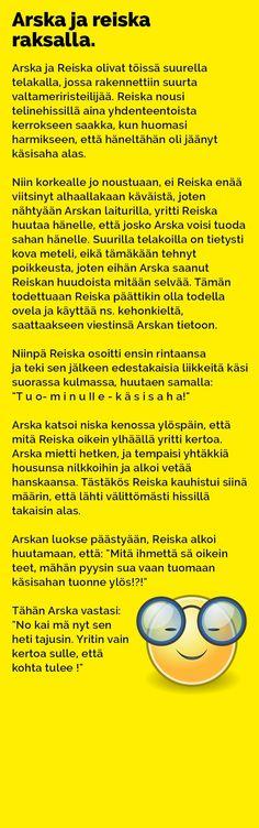 Vitsit: Arska ja Reiska raksalla - Kohokohta.com Funny Things, Humor, Comics, Ha Ha, Cheer, Fun Things, Humour, Comic Book, Comic