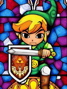 """Voici 8 Stickers imitation vitraux basés sur """"Zelda - The Wind Waker"""" et...ça claque voilà donc si vous en voulez c'est ici Look !"""