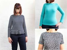 The Delia top is an easy, semi-fitted 'raglan sleeve' top designed with comfort and style in mind, suitable for confident beginners through to experienced dressmakers. It works equally well in a variety of knit fabrics and can be sewn on an overlocker (serger), or entirely on a sewing machine. Go all out girly with a peplum and bow version or keep it simpler and more casual with a plain version. The choice is yours!  DIGITAL PATTERN:when purchasing this pattern you will receive an email…