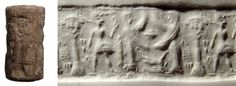Syrian cylinder seal, 19th-18th century B.C. With two winged goddesses facing one another, an upside down goat and a star between them, a male figure stands behind the goddesses, wearing a conical cap and holds a staff. Behind him is a decorated column surmounted by a facing male head with goat ears, cuneiform text to either side, 2.1 cm high. Private collection