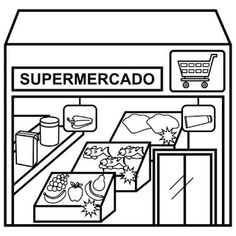 Top 10 Supermarket Coloring Pages for Children - Coloring Pages Quote Coloring Pages, School Coloring Pages, Coloring Pages For Kids, Coloring Books, Places In The Community, My Community, Community Helpers, Sensory Activities Toddlers, Literacy Activities
