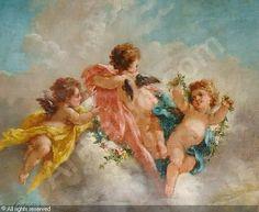 Cherub Angel Paintings   876 best images about Cherubs & Roses ~~~Artwork, Statues ...