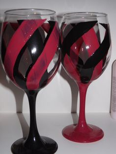 Pink and Black Swirl Wine Glasses Hand by FunctionalyEnchanted
