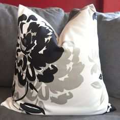 Toss Pillow, Pillow Cover, Decorative Pillow, Throw Pillow, Duralee Floral, Black, Gray, 14x14 inch, Home Furnishing, Home Decor on Etsy, $17.00