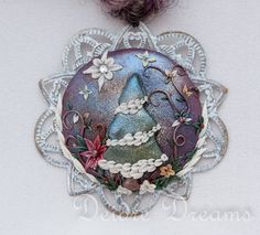 Pagan Yule Tree Art Yarn Necklace  Polymer Clay by DeidreDreams, $60.00