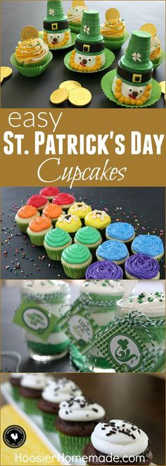 St. Patrick's Day Cupcakes - darling Leprechauns, Rainbow, Irish Cream, Grasshopper, FREE Printable Cupcake Toppers and more!