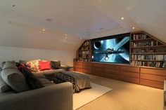 Attic Home Theater dachgeschoss, Bespoke Home Cinemas on Home Cinema Room, At Home Movie Theater, Home Theater Rooms, Home Theater Design, Attic Theater, Attic Library, Attic Apartment, Attic Rooms, Attic Spaces