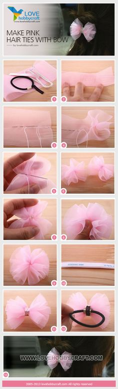 39 Best ideas hair accessories diy how to make bow tutorial Hair Ribbons, Diy Hair Bows, Diy Bow, Ribbon Bows, Tulle Bows, Pink Tulle, Diy Headband, Baby Headbands, Hair Bow Tutorial