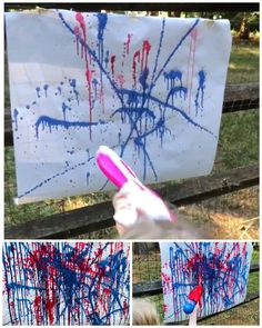 Memorial Day Crafts For Kids Discover Water Squirter Fireworks Painting Water Squirter Fireworks Painting - fun process art to do outdoors this summer! Summer Camp Art, Summer Camp Themes, Summer Camp Crafts, Summer Fun List, Summer Camps For Kids, Summer Diy, Camping Activites For Kids, Summer Camp Activities, Sleepover Activities