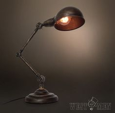 Gooseneck table lamp articulating arm Edison by AugustRushLights