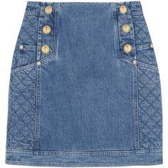 Balmain Paneled denim mini skirt (£635) found on Polyvore