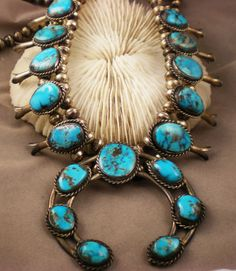 Vintage Necklace Navajo Squash Blossom Turquoise by duSayeJewelry, $1350.00
