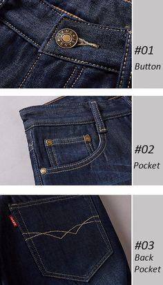 Mens Thick Winter Fleece Cotton Fashion Casual Mid-rise Jeans Straight Legs Denim Pants