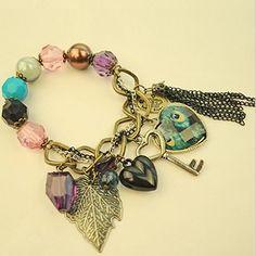 Awesome Peacock Feather Design Peach Heart Tassel Bracelets