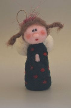 Needle felted Angel with spotted dress by TheFeltDrawer on Etsy Needle Felted Ornaments, Felt Ornaments, Wool Needle Felting, Wet Felting, Felt Christmas, Handmade Christmas, Felt Crafts, Fabric Crafts, Christmas In Ireland