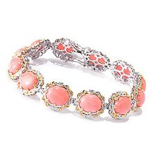 Gems en Vogue 11 x 9mm Oval Bamboo Coral Tennis Bracelet