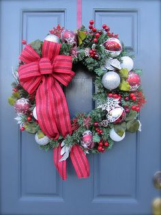 Red White Christmas Decor Holiday Wreaths Red by WreathsByRebeccaB