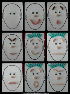 Play Dough Portraits: To explore play dough portraits in a slightly different way I printed off a few of these blank face templates (A5 size) & added a couple of googly eyes. These are great for recognizing, naming, & positioning facial features, as well as exploring a variety of facial expressions & feelings/emotions. #preschool #kidscrafts #efl (repinned by Super Simple Songs)