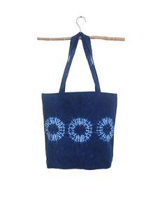 Boho chic tote bag  Indigo Shibori handbag natural indigo