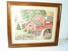 CLEARANCE Vintage Framed Grist Mill Print Snyder by WitsEndDesign