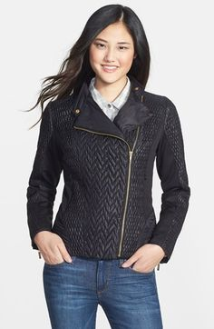 Free shipping and returns on Laundry by Shelli Segal Mixed Quilt Detail Moto Jacket at Nordstrom.com. A mix of quilted stitching adds tonal dimension to a water-resistant jacket with moto styling and gleaming hardware. Smooth panels at the sides and sleeves keep the fitted silhouette sleek.