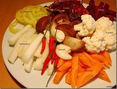 zelenina - mix - popisky01 Crepes, Cauliflower, Vegetables, Food, Red Peppers, Pancakes, Cauliflowers, Essen, Vegetable Recipes