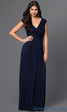 Long Formal V-Neck Gown with Rouched Bodice
