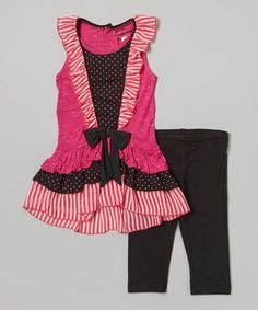 Look what I found on #zulily! Pink & Black Ruffle Bow Tunic & Leggings - Toddler & Girls by Unik #zulilyfinds