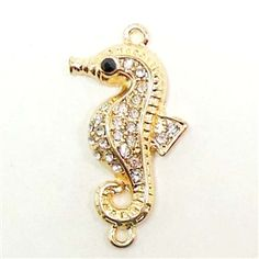 Seahorse Charm, Imitation Crystal Rhinestones, Seahorse Connector, Double Loop, Gold Plate Base, 31 x 16 with Loops  from B'sue Boutiques