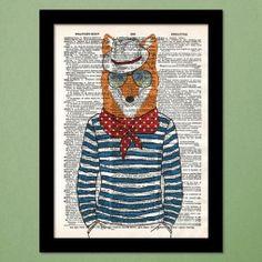 Fashionable Fox Dictionary Art Print