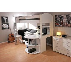 stompa combo kids white highsleeper bed with sofa bed desk shelving and storage