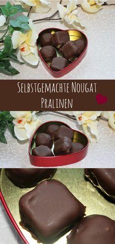 Selbstgemachte Pralinen mit Nougat und Krokant #christmas #christmasbakeryy #recipe #pralinen http://www.the-inspiring-life.com/2012/12/adventskalender-13-turchen-selbgemachte.html