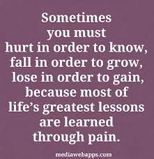 Sometimes you must hurt . . . life's greatest lessons are learned through pain.