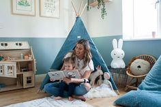 We have been lucky enough to partner with Ferne McCann to design and makeover Sunday's Playroom. Read all about the Inspiration behind the room as well as exclusive pictures from our photoshoot with Ferne, Sunday and photographer Chelsea White. Read all about it and how to create the look in our blog!    #playroomideas #kidsroominspiration Contemporary Nursery Decor, Dress Up Corner, Teal Color Schemes, Half Painted Walls, Ferne Mccann, Alphabet Print, Art Corner, Cool Rooms, Nursery Art