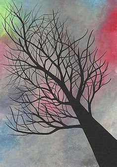 ACEO Original Painting, Artist Trading Card. ATC, Michael Francis Brown, Tree