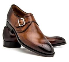 New Handmade Monk Strap Two Tone Shoes, Men Leather Trendy Single Strap Shoes - Dress/Formal