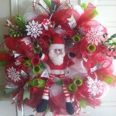 Mesh Christmas wreath w/  Santa