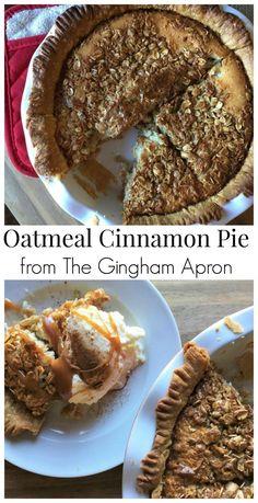 Oatmeal Cinnamon Pie- simply delicious.#fall #autumn #thanksgiving