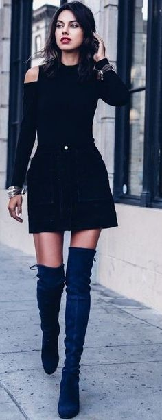 Black cold shoulder top black suede mini skirt navy suede over the knee boots - Fall outfits fall fashion trends 2017 fall fashion street style party outfits night out outfits holiday outfits dressy outfits. Dressy Outfits, Skirt Outfits, Fall Outfits, Holiday Outfits, Outfit Winter, Fashionable Outfits, Stylish Clothes, Outfit Summer, Casual Clothes