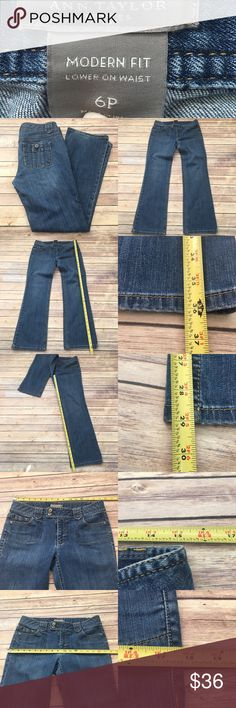 🍃Size 6 Petite Ann Taylor Modern Fit Denim Jeans Measurements are in photos. Normal wash wear, shows some wear on the bottom hems, no other flaws. F2/30  I do not comment to my buyers after purchases, due to their privacy. If you would like any reassurance after your purchase that I did receive your order, please feel free to comment on the listing and I will promptly respond. I ship everyday and I always package safely. Thanks! Ann Taylor Jeans Boot Cut