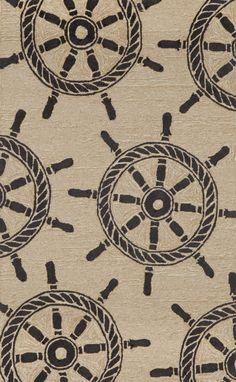 "Ship Wheel Black 42"" x 66"" Indoor/Outdoor Rug"
