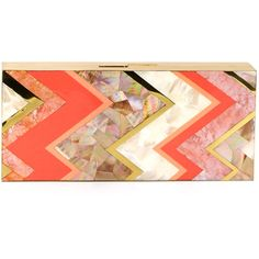 Rafe Natalie Rectangle Shell Minaudiere (5,305 CNY) ❤ liked on Polyvore featuring bags, handbags, clutches, purses, accessories, carteras, coral multi, handbags purses, chain strap purse and red purse