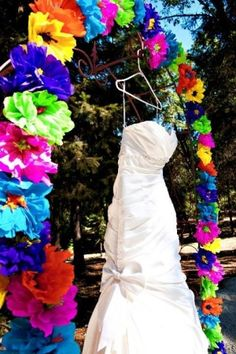 Colorful tissue paper arch--fun for a spring party