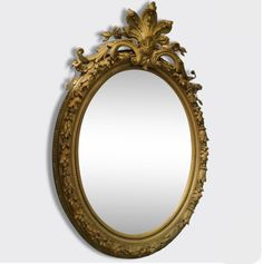 A 1m High Oval Antique French Gold Mirror - Tres Grand Miroir Ovale Doré Ancien