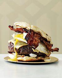 Michael Symon's part hamburger, part breakfast sandwich. My boyfriend will like this, I will just pin it & wish I could eat it.