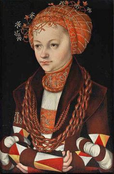 Lucas Cranach (Northern Renaissance, and his workshop Portrait of a Woman, 1513 Renaissance Kunst, Renaissance Portraits, Renaissance Paintings, Renaissance Fashion, Renaissance Clothing, German Style, 16th Century Fashion, 18th Century, German Costume