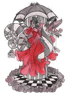 """""""Red Bride"""" Beetlejuice art by Holly Randall Tim Burton Art, Tim Burton Style, Beetlejuice, Tim Burton Characters, Goth Art, Halloween Cosplay, Cute Wallpapers, Art Inspo, Art Reference"""